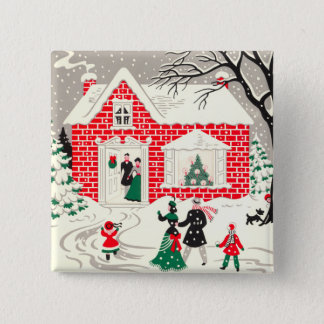 Vintage Countryside Greetings Square Button