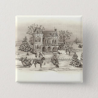 Vintage Countryside Square Button