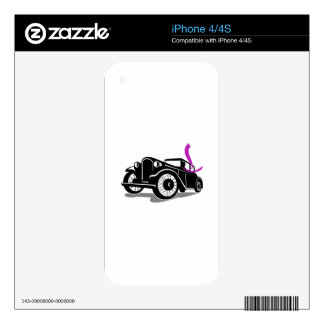 Vintage Coupe With Flowing Scarf Retro iPhone 4S Decals