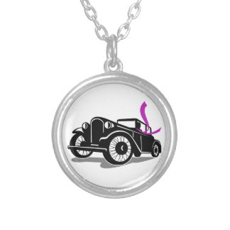 Vintage Coupe With Flowing Scarf Retro Silver Plated Necklace