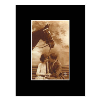 Vintage Couple and Horse Postcard