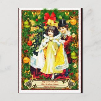 Vintage Couple Christmas Holiday Postcard
