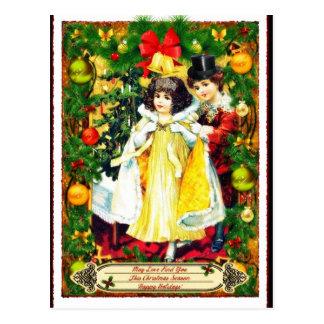 Vintage Couple Christmas Holiday Postcard