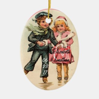 Vintage Couple Ice Skating & Holding Hands Ceramic Ornament
