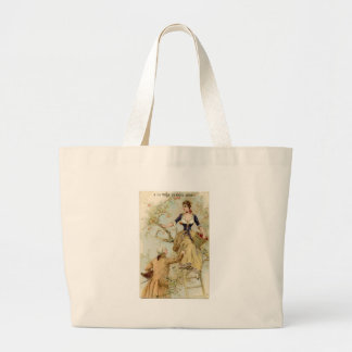 Vintage couple in love large tote bag
