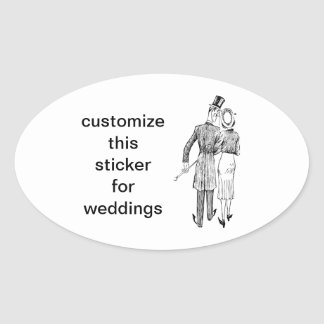 Vintage Couple in Love Oval Sticker