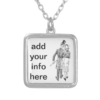 Vintage Couple in Love Silver Plated Necklace