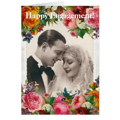Vintage Couple in Love Wedding Roses Greeting Card