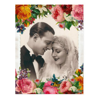 Vintage Couple in Love Wedding Roses Postcard
