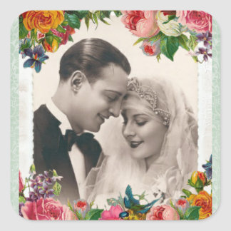 Vintage Couple in Love Wedding Roses Stickers