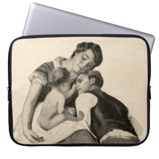 Vintage Couple in Love with Baby Family Antique Laptop Computer Sleeves