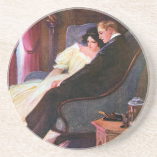 Vintage Couple in Sitting Room Coaster