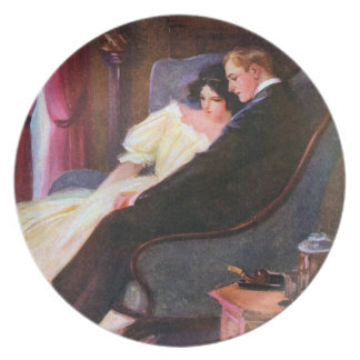 Vintage Couple in Sitting Room Plates