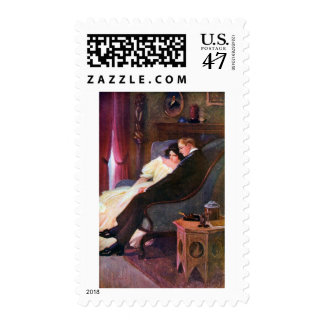 Vintage Couple in Sitting Room Postage