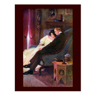 Vintage Couple in Sitting Room Postcard