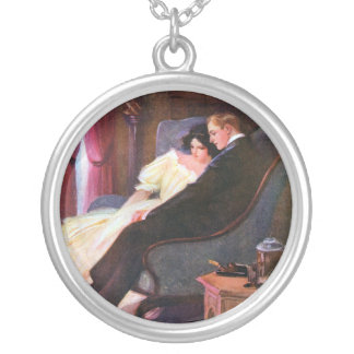 Vintage Couple in Sitting Room Round Pendant Necklace
