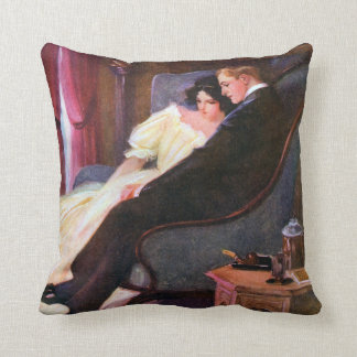 Vintage Couple in Sitting Room Throw Pillow