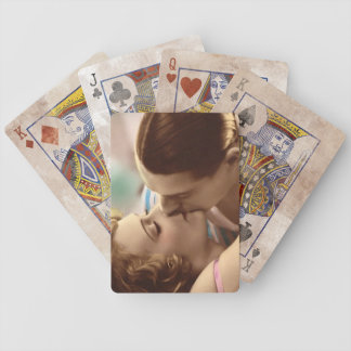 Vintage Couple Kissing Bicycle Playing Cards