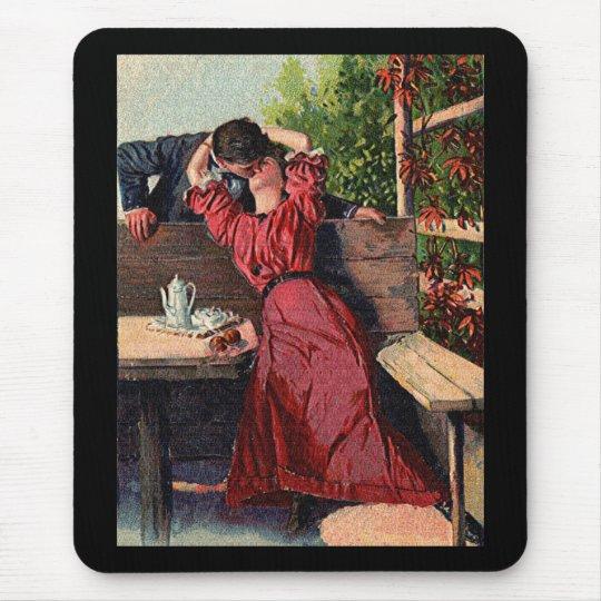 Vintage Couple Kissing Valentines Mouse Pad