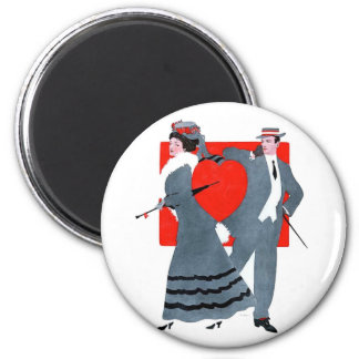 Vintage Couple 2 Inch Round Magnet