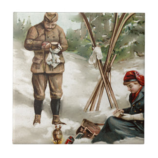 vintage  couple on a ski tour tile