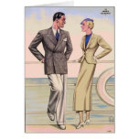 Vintage Couple on Cruise Greeting Card