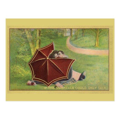 Vintage Couple under umbrella Postcard