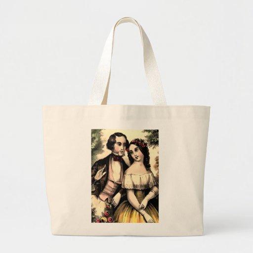 Vintage Couple Valentine Jumbo Tote Bags