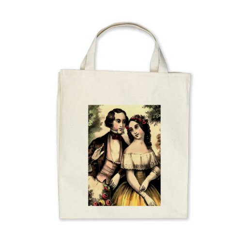 Vintage Couple Valentine Organic Grocery Tote Canvas Bags