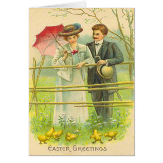Vintage Couple Viewing Easter Chicks Easter Card