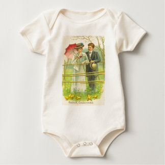 Vintage Couple Viewing Easter Chicks Easter Card Baby Bodysuit