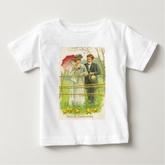 Vintage Couple Viewing Easter Chicks Easter Card Baby T-Shirt