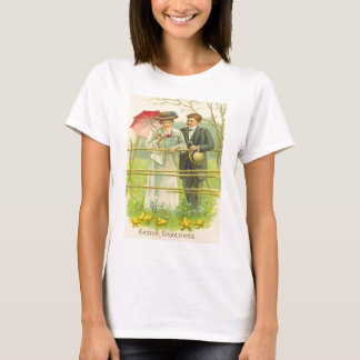 Vintage Couple Viewing Easter Chicks Easter Card T-Shirt