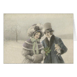Vintage Couple with Baby Pig Card
