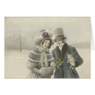Vintage Couple with Baby Pig Greeting Card