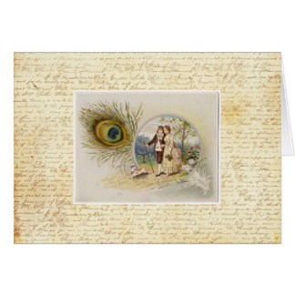 Vintage Couple with Peacock Feather Greeting Cards