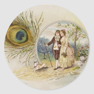 Vintage Couple with Peacock Feather Round Stickers