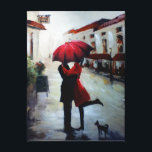 "Vintage Couple with Umbrella and Dog Canvas<br><div class=""desc"">Replica wrapped canvas painting of a couple in love holding red umbrella in Mediterranean city with a small Scottish Terrier</div>"