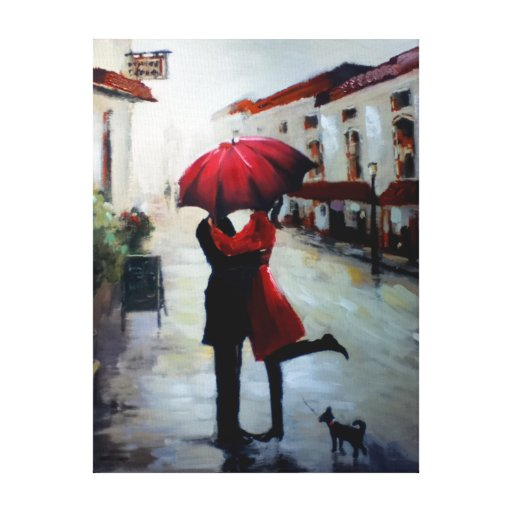 Vintage Couple with Umbrella and Dog Canvas Gallery Wrap Canvas