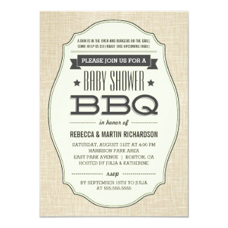 "Vintage Couples BBQ Baby Shower Invitations 4.5"" X 6.25"" Invitation Card"