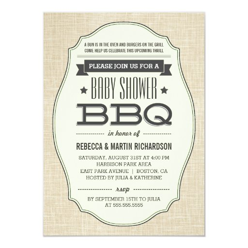 Couples Bbq Baby Shower: Vintage Couples BBQ Baby Shower Invitations