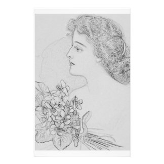 Vintage Cover Girl Coloring Sheet Stationery