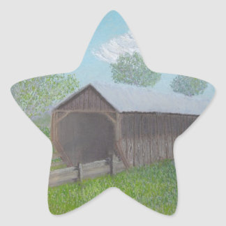 Vintage Covered Bridge Star Sticker