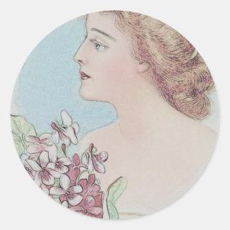Vintage Covergirl Classic Round Sticker