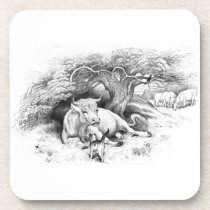 Vintage Cow and Cat Sketch Drink Coaster