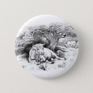 Vintage Cow and Cat Sketch Pinback Button