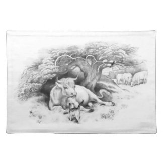 Vintage Cow and Cat Sketch Place Mat