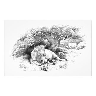 Vintage Cow and Cat Sketch Stationery