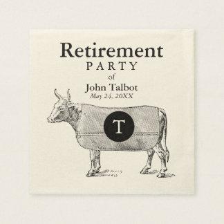 VINTAGE Cow Blanket Retirement P Napkin Monogram