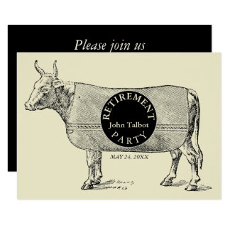 VINTAGE Cow Blanket Retirement Party Invitation 1